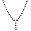 "18K White Gold Women's Necklace, 22"" Chain With 143 CT Black Diamonds"