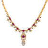 "18K Yellow Gold  Women's Necklace, 18"" Chain and Diamonds and Rubies"