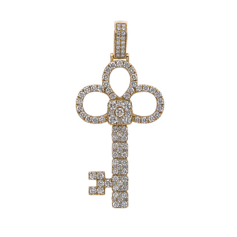14K Yellow Gold Unisex Key Shaped Pendant