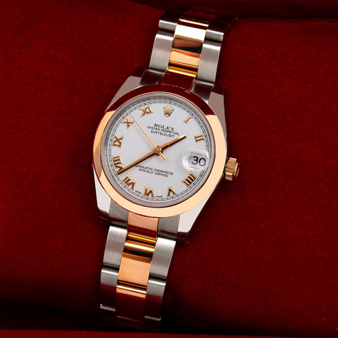 Rolex Datejust 178241 31MM Roman Numeral White Dial Two Tone Oyster Bracelet