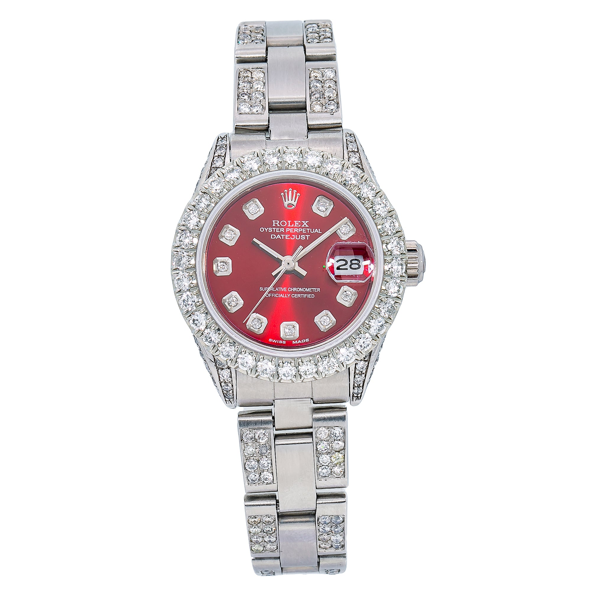 Rolex Lady-Datejust 6917 26MM Red Diamond Dial With 5.25 CT Diamonds