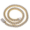 "10K Two Tone Yellow and White Gold 22"" Cuban Chain Prong Setting With 19.75 CT Diamonds"