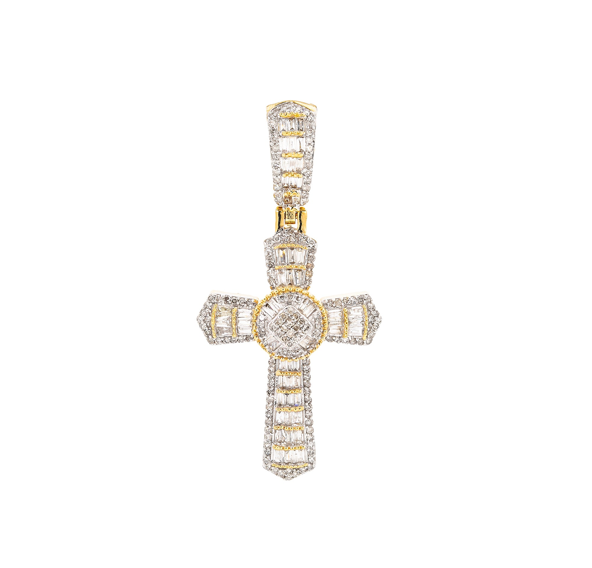 Unisex 14K Yellow Gold Cross Pendant with 0.98 CT Diamonds