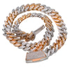 "14K Two Tone Rose gold And White 26"" Cuban Chain With 25.62 CT Diamonds"