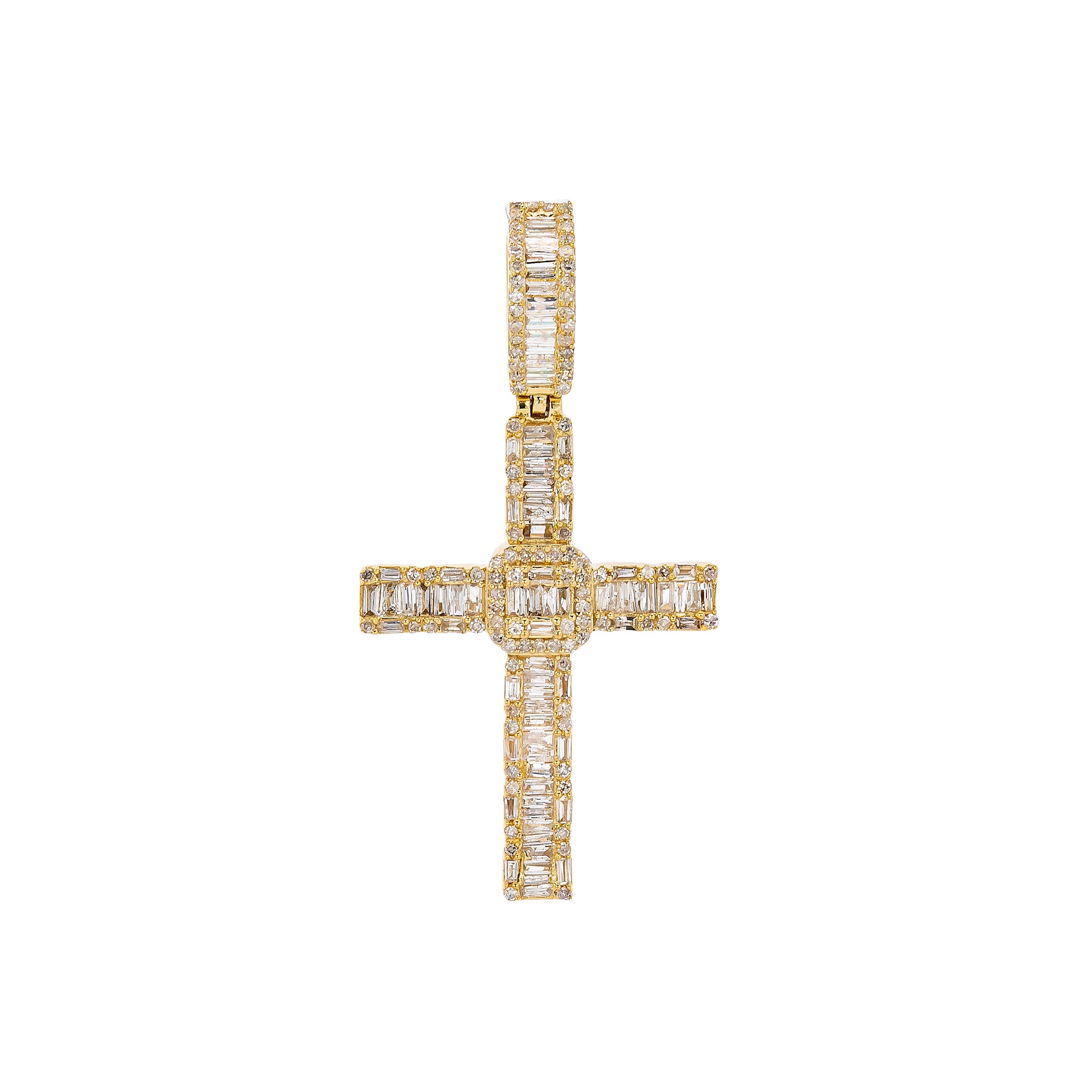 Unisex 14K Yellow Gold Cross Pendant with 0.91 CT Diamonds