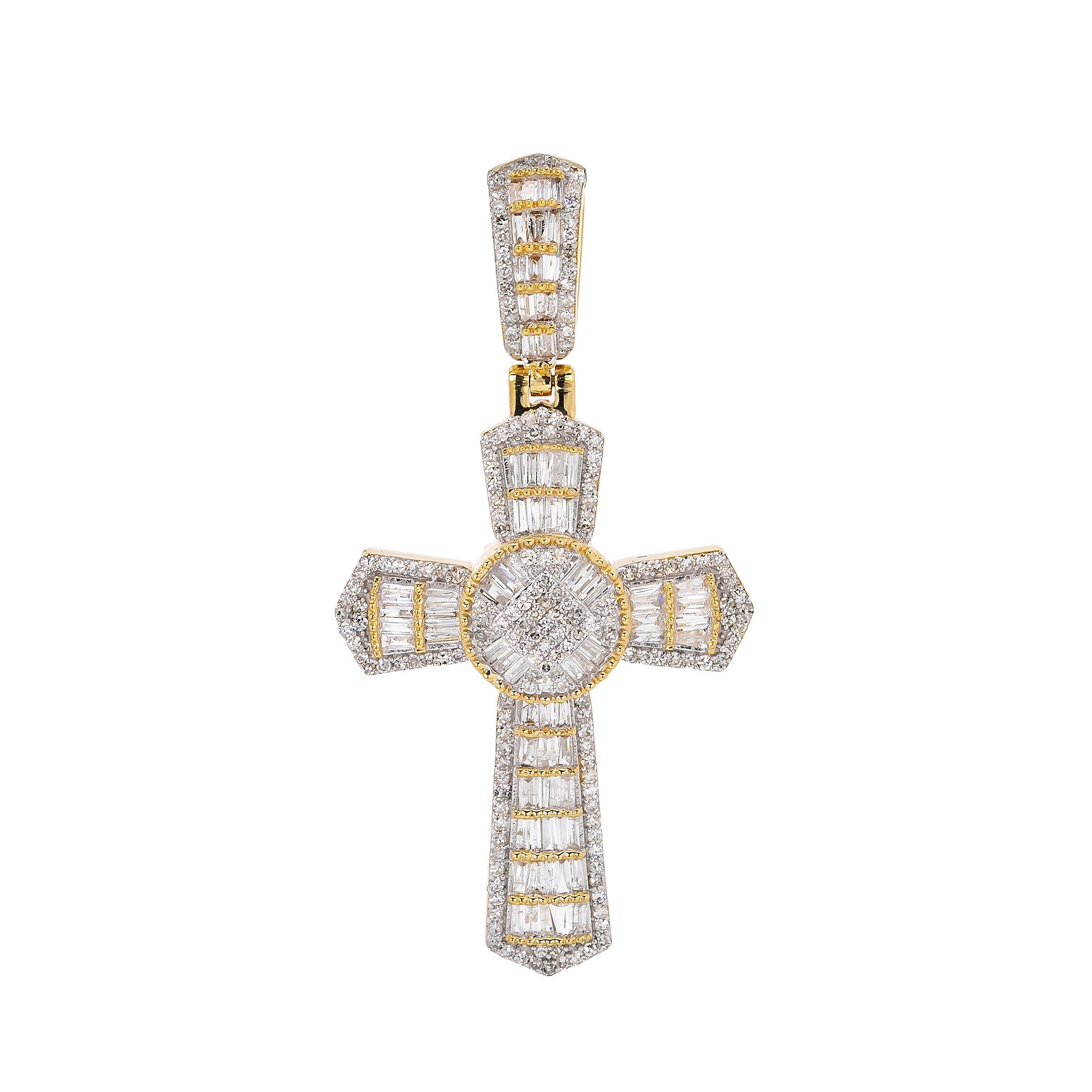 Unisex 14K Yellow Gold Cross Pendant with 1.25 CT Diamonds