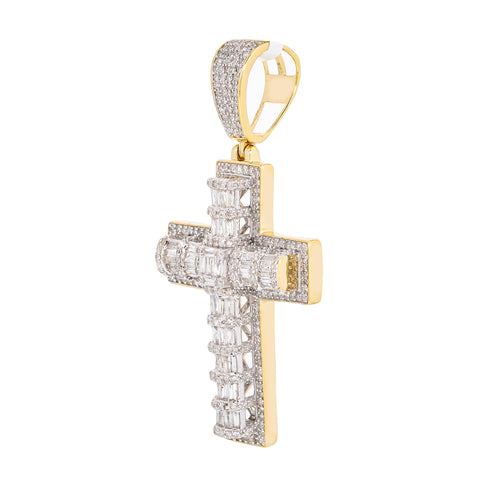 Unisex 14K Yellow Gold Cross Pendant with 1.43 CT Diamonds