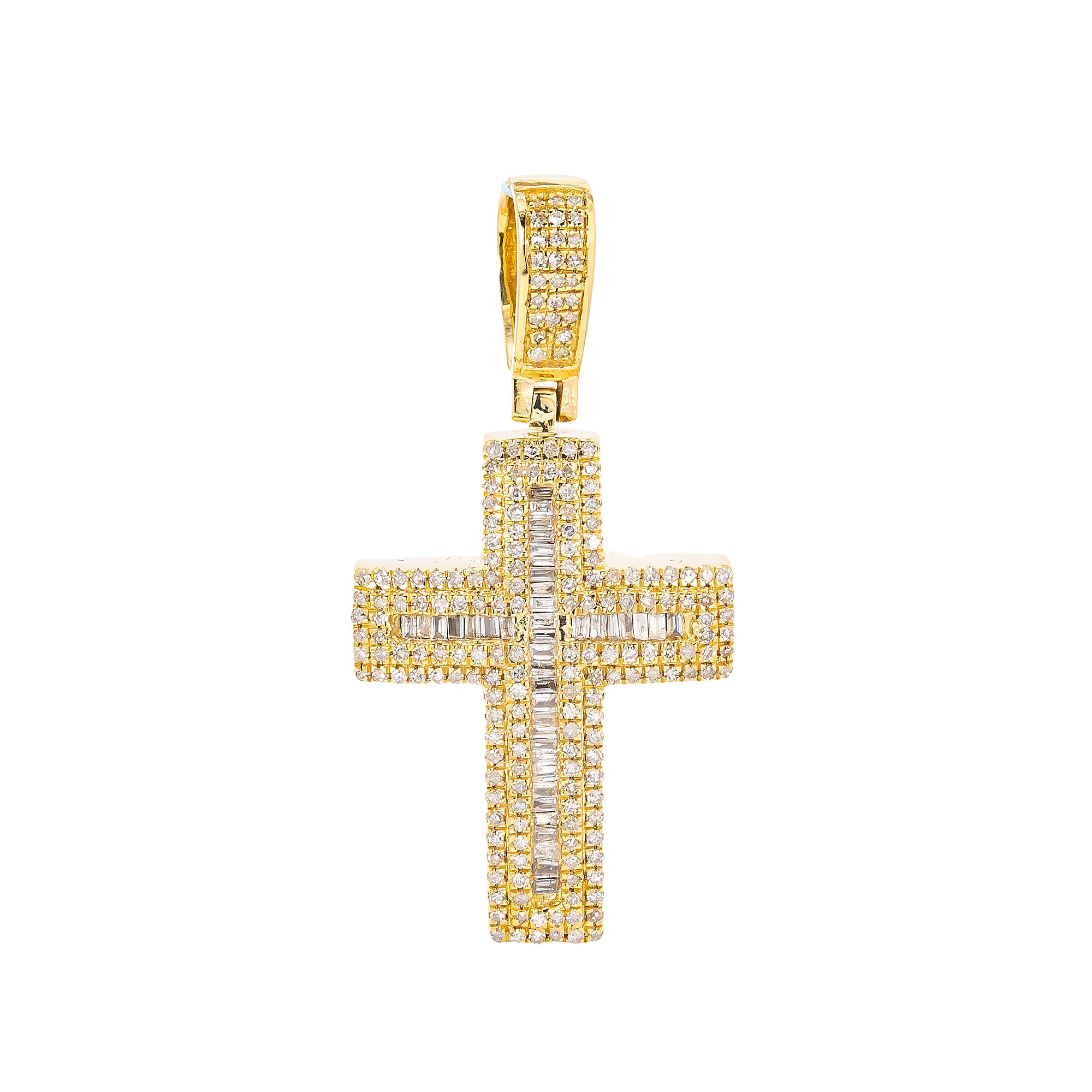 Unisex 14K Yellow Gold Cross Pendant with 0.82 CT Diamonds