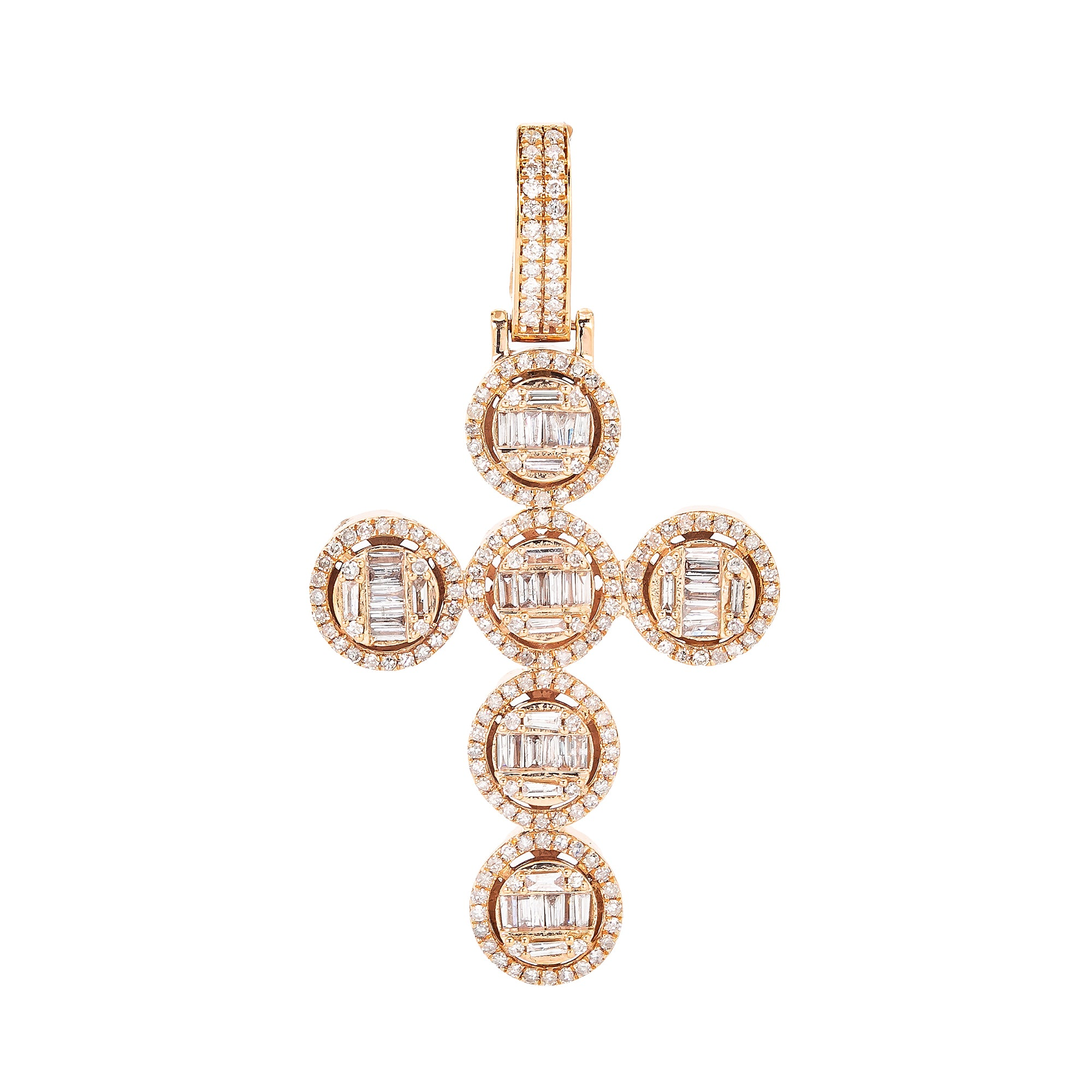 Unisex 14K Rose Gold Cross Pendant with 1.33 CT Diamonds