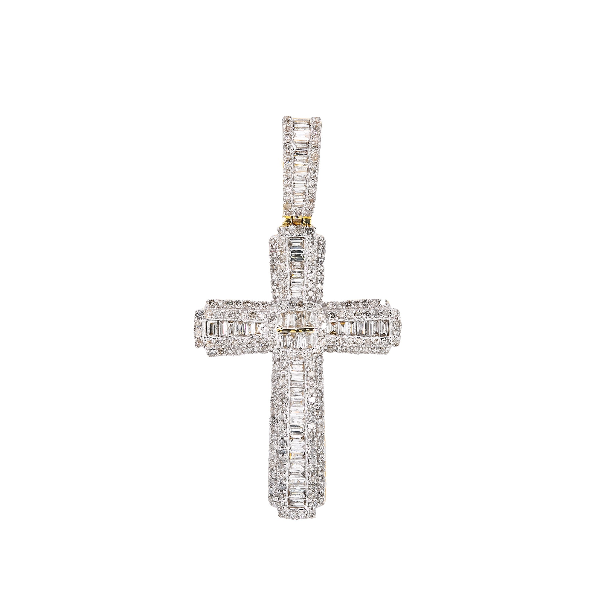 Unisex 14K Yellow Gold Cross Pendant with 1.08 CT Diamonds
