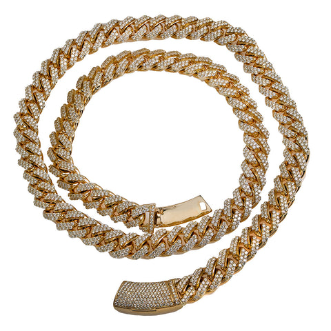14K Yellow Gold Iced Out Diamond Cuban Link Chain | 36.35 Carats | 17.5 Mm Width | 24 Inch Length