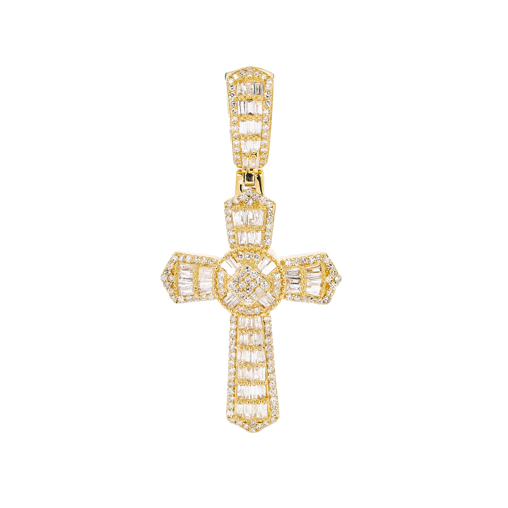 Unisex 14K Yellow Gold Cross Pendant with 0.92 CT Diamonds
