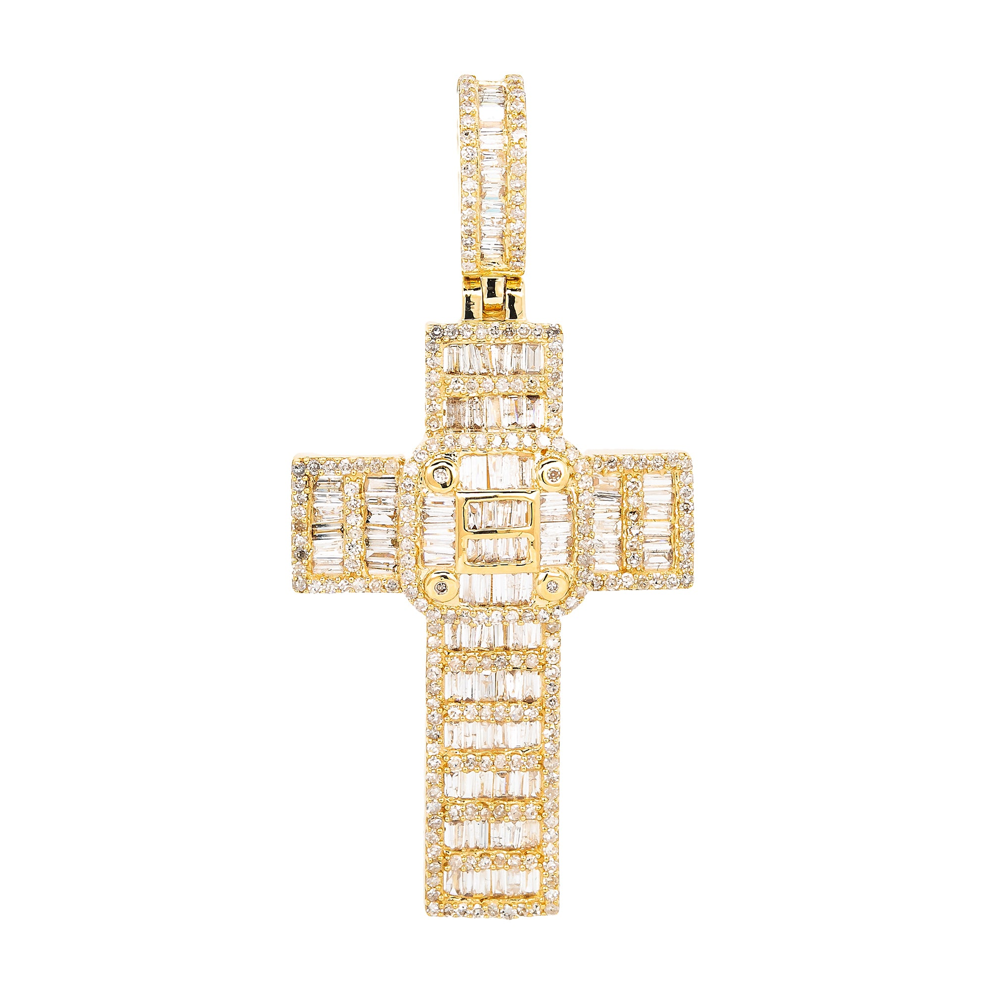 Unisex 14K Yellow Gold Cross Pendant with 1.55 CT Diamonds