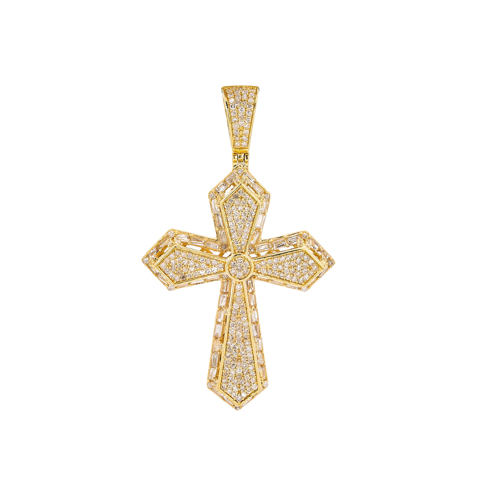 Unisex 14K Yellow Gold Cross Pendant with 1.28 CT Diamonds