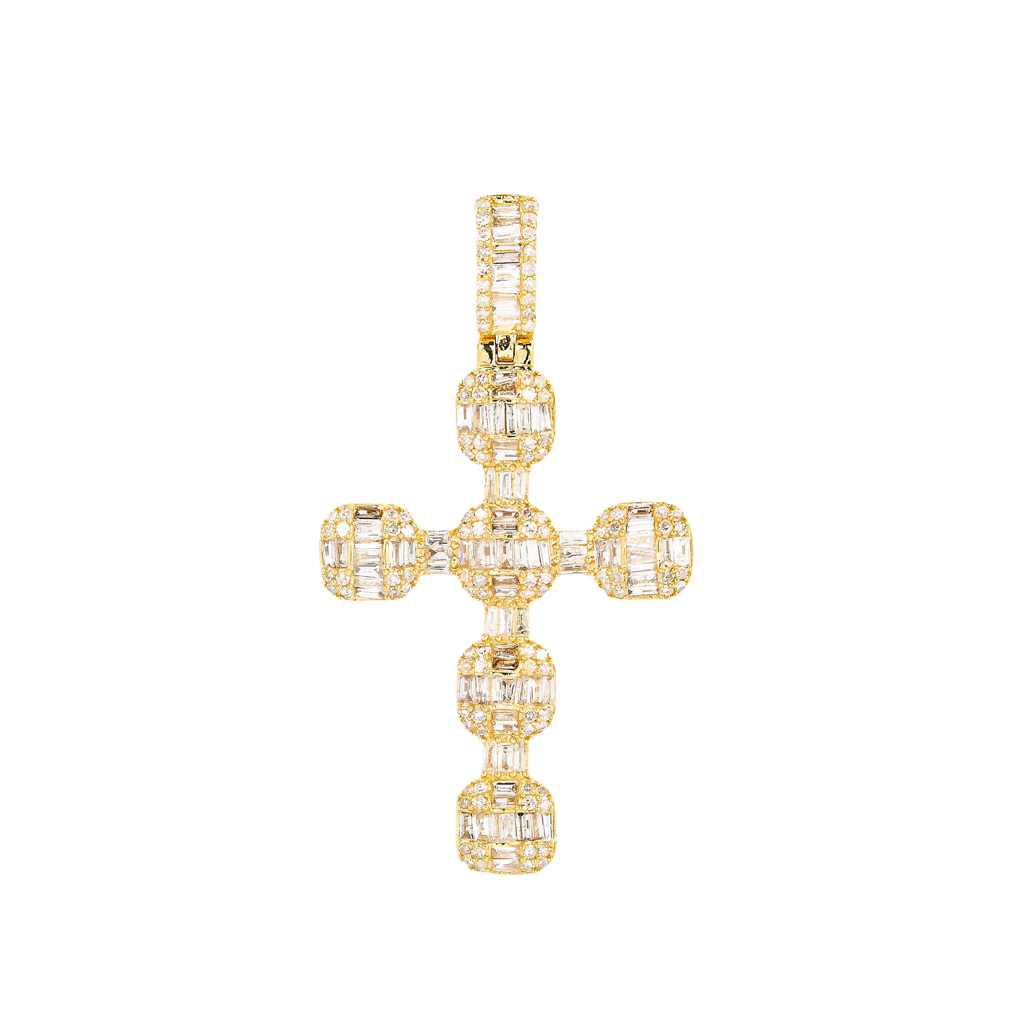 Unisex 14K Yellow Gold Cross Pendant with 1.24 CT Diamonds
