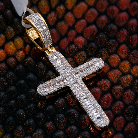 Unisex 14K Yellow Gold Cross Pendant with 0.88 CT Diamonds