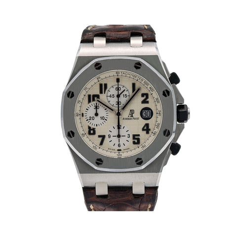 Audemars Piguet Royal Oak Offshore 26170ST 42MM White Dial With Brown Leather Bracelet