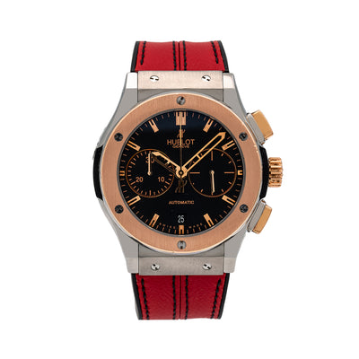 Hublot Classic Fusion Chronograph 521.NO.1181.LR  45MM Black Dial With Red Leather Bracelet