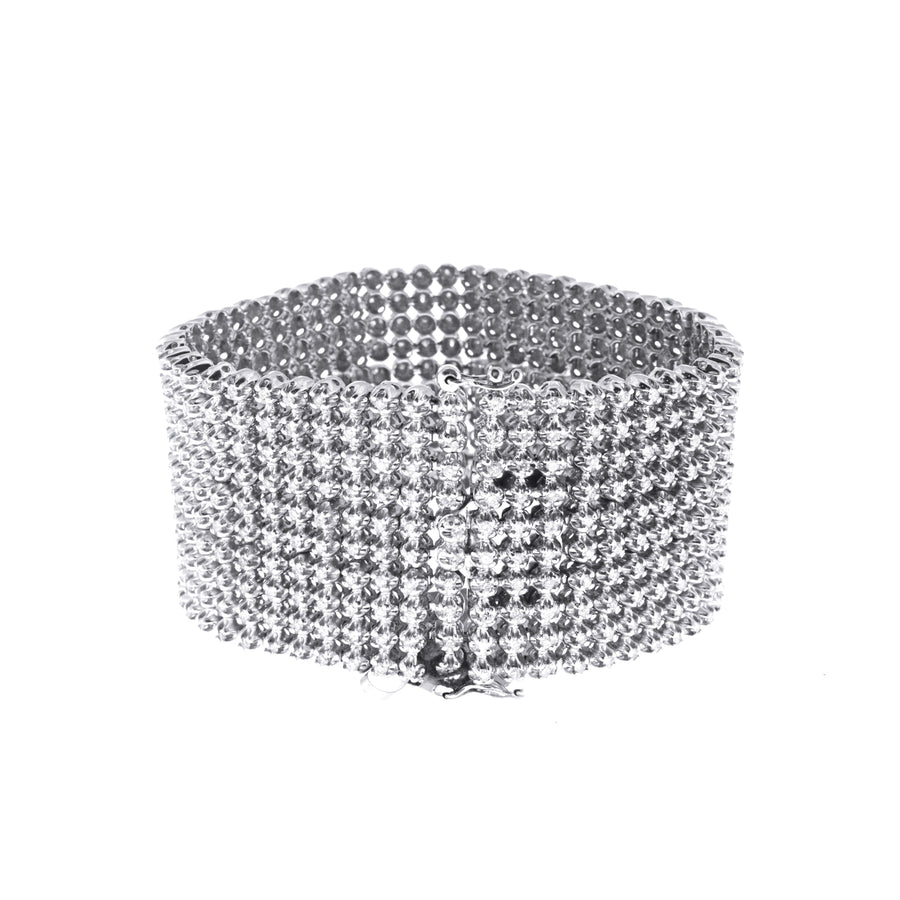 Men's Diamond Bracelet with Ten Row Diamonds