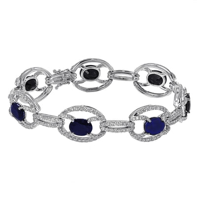Ladies Diamond and Sapphire Tennis Bracelet