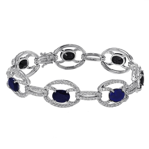 18K White Gold Diamond and Sapphire Fancy Bangle With Round Cut Diamonds 6.02CT Sapphire weight is 16.89CT