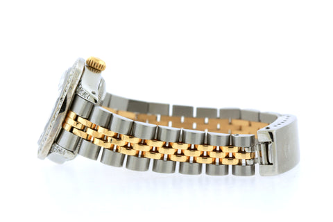 Rolex Datejust Diamond Watch, 26mm, Yellow Gold and Stainless Steel Bracelet Red and Black Dial w/ Diamond Bezel and Lugs