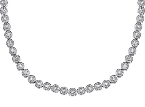 18K White Gold Fancy Diamond Necklace With Round Cut Diamonds 11.00CT