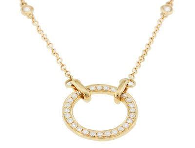 Diamond by the Yard Chain with Diamond Circle of Life