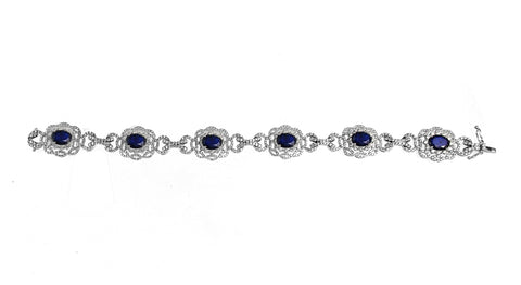 18K White Gold Blue Sapphire Bracelet with Round Diamonds 5.00CT Sapphire Weight Is 14.54CT