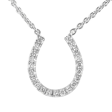 18K White Gold Diamond Horseshoe Pendant with Chain 0.16CT