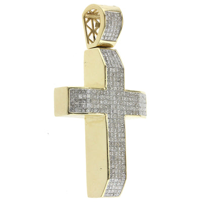 Yellow Large Princess Cut Diamond Cross