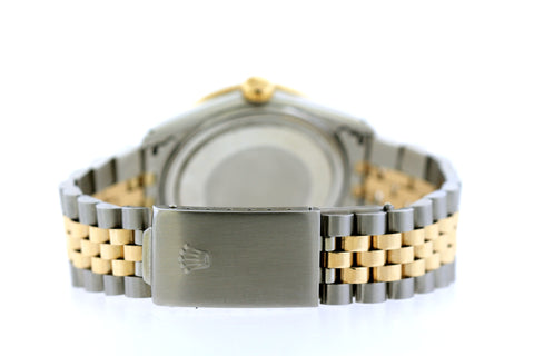 Rolex Datejust Diamond Watch, 36mm, Yellow Gold and Stainless Steel Bracelet Mother of Pearl Dial w/ Diamond Bezel