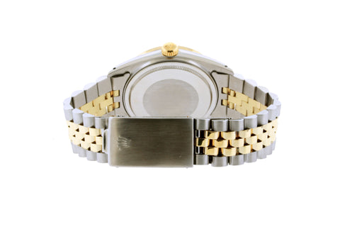 Rolex Datejust Diamond Watch, 36mm, Yellow Gold and Stainless Steel Bracelet White Mother of Pearl Dial w/ Diamond Bezel