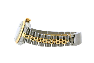 Rolex Datejust 26mm Yellow Gold and Stainless Steel Bracelet Black Mother of Pearl Dial w/ Diamond Lugs