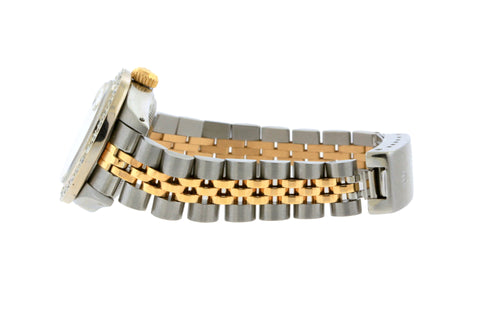 Rolex Datejust Diamond Watch, 26mm, Yellow Gold and Stainless Steel Bracelet Black Border Dial w/ Diamond Bezel