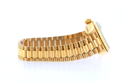 18k Yellow Gold Rolex Datejust Diamond Watch, 26mm, President Bracelet Myrtle Dial w/ Diamond Bezel