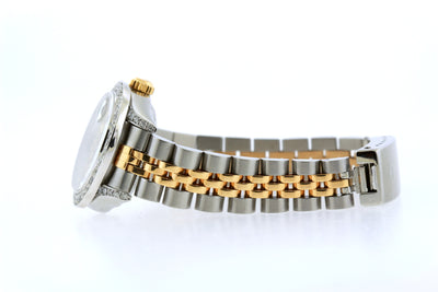 Rolex Datejust 26mm Yellow Gold and Stainless Steel Bracelet Black Mother Of Pearl  Dial w/ Diamond Bezel and Lugs