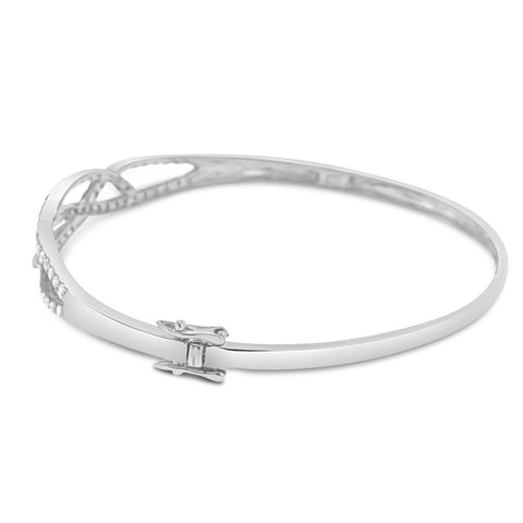 14K White Gold Diamond Bangle With Round Cut Diamonds 1.52CT