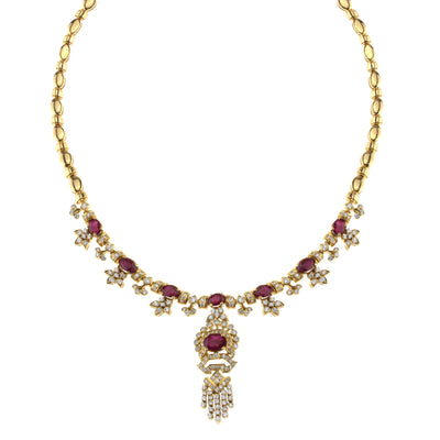 Ladies Yellow Gold Chain with Diamonds and Rubies