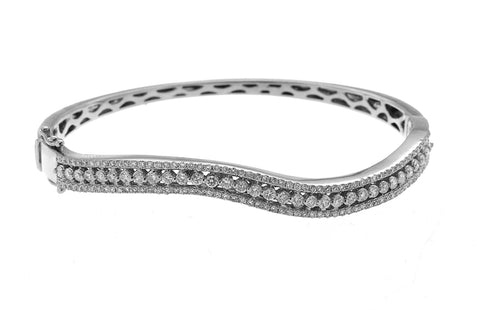 14K White Gold Elegant Diamond Bangle With Round Cut Diamonds 2.00CT