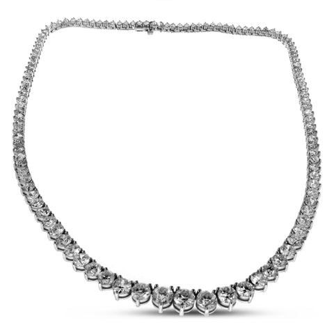 18K White Gold Graduated Diamond Tennis Necklace 30.00CT