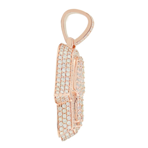 Rose Gold 3D Hamsa Pendant with Diamonds
