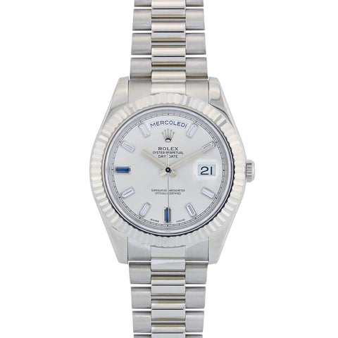 18K White Gold Rolex Day Date II President 218239 41MM Silver Dial with Index Markers