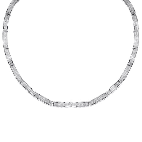 14K White Gold Princess Cut Diamond Necklace With 4.90CT
