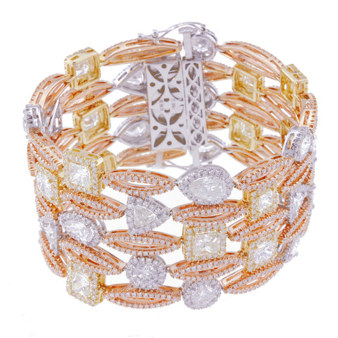 Fancy Tennis Bracelet with Yellow and White Diamonds