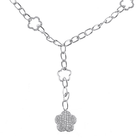 White Gold Chain with Diamonds and Star Pendant