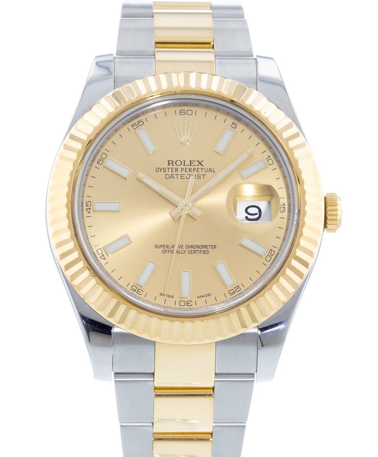 Rolex Datejust 41mm Yellow Gold and Stainless Steel Bracelet Champagne Dial 116333