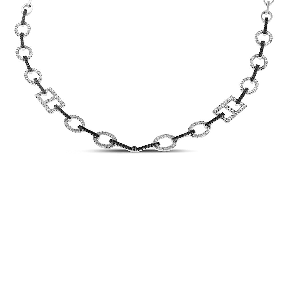 18K White Gold Black and White Diamond Necklace 2.26CT