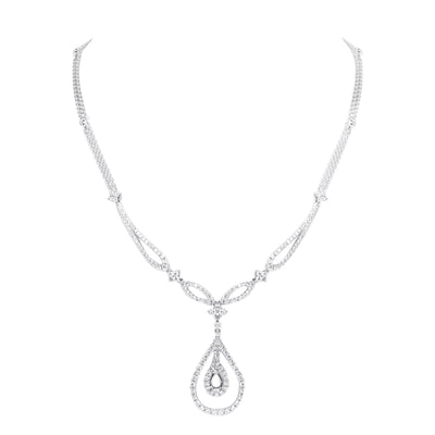 Ladies Diamond Chain with Tear Drop Pendant