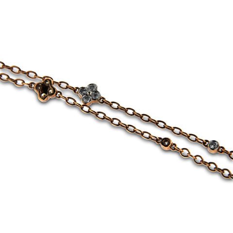 Gold Black and White Diamond Necklace